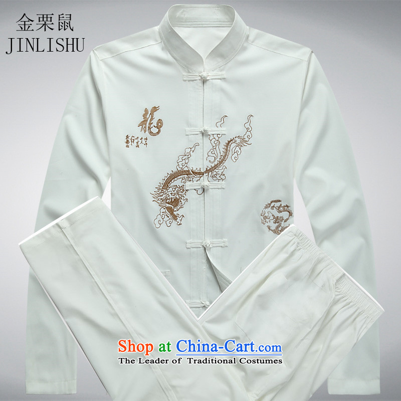 Kanaguri mouse male spring and summer new long-sleeved jacket in Chinese father dress older men Tang Dynasty Package White Kit XL