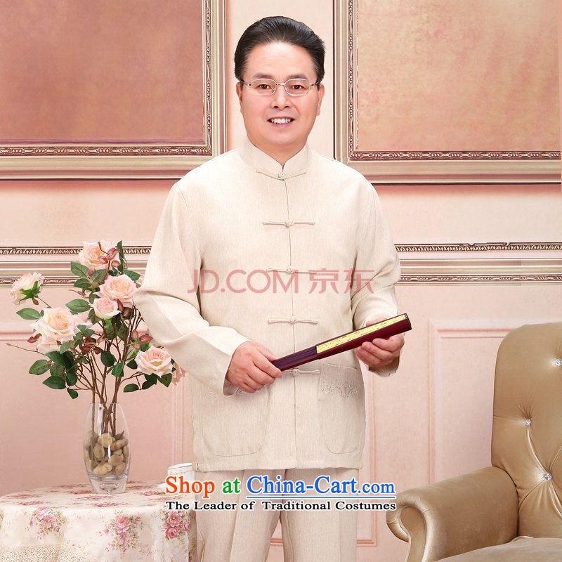 To Jing Ge older men and women Tang dynasty taxi couples with the spring and fall long-sleeved jacket cotton Linen Pants Shirts Kit Man Kit聽XXXL m White