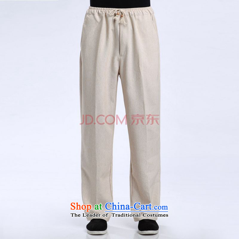 Ms Au King Mansion to men Tang pants elastic waist cotton linen trousers and pants casual pants -1 TROUTHES XL