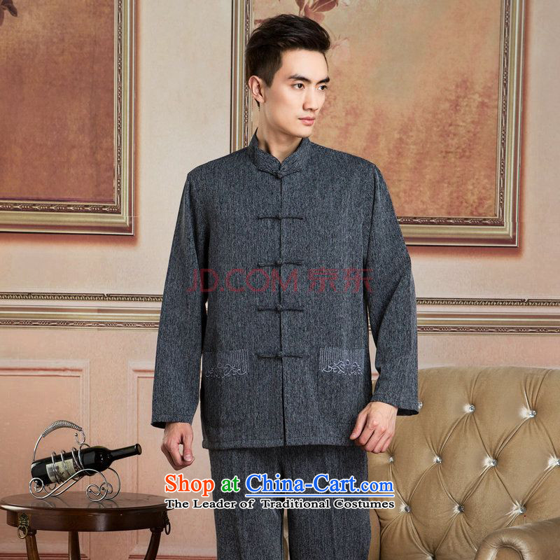Ms Au King Mansion to Tang dynasty men long-sleeved sweater cotton linen collar Tang dynasty kung fu tai chi Services - 2) Netherlands shirt XXL
