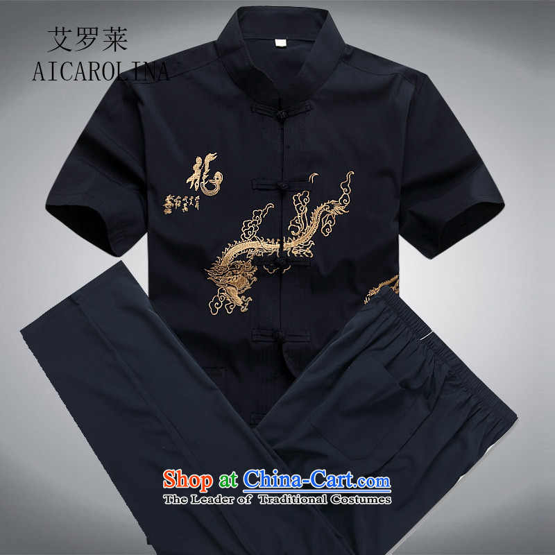Rollet summer of HIV Tang dynasty in older men Tang Kit Casual relaxd large short-sleeved blue replace DAD package?XL