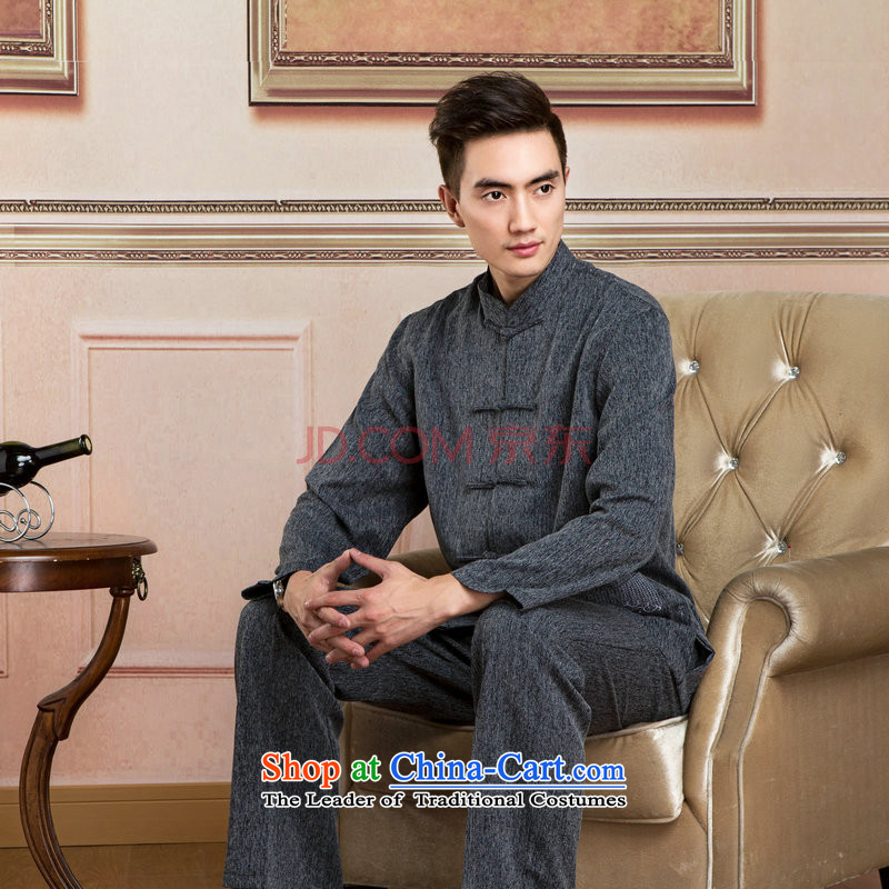Ms Au King Mansion to Tang dynasty men long-sleeved sweater cotton linen collar Tang Dynasty Package kung fu tai chi service kit shirt - 2_ packaged XXXL