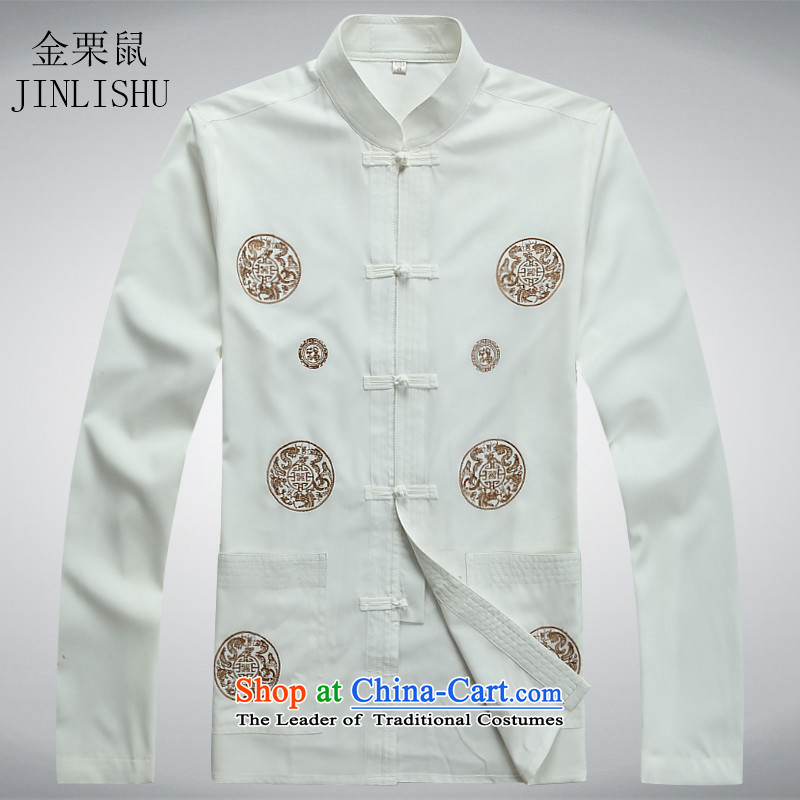 Kanaguri mouse in the spring and summer months older men long-sleeved Tang Dynasty Chinese ethnic men Tang Dynasty Package white shirt聽XXL