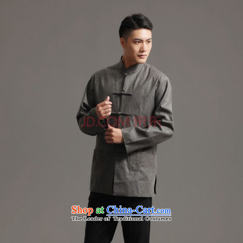 Ms Au King Mansion to?Tang dynasty 2015 men's long-sleeved sweater collar ethnic Han-tang?- 3)?L