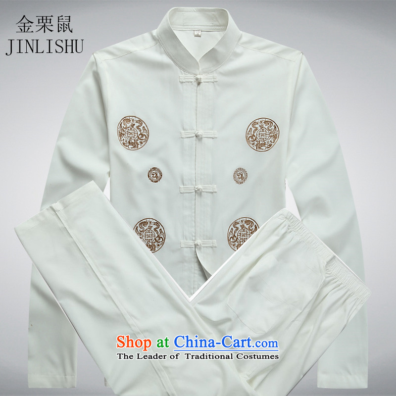 In the spring of Kim Gopher Tang dynasty older men and long-sleeved shirt older persons men Kit Chinese Han-long-sleeved white Kit packaged�XXXL