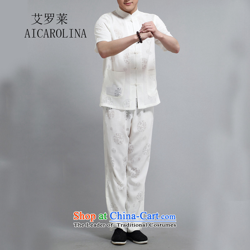 Hiv Rollet men summer short-sleeved Tang dynasty collar disc detained national costumes father boxed kit White?XL