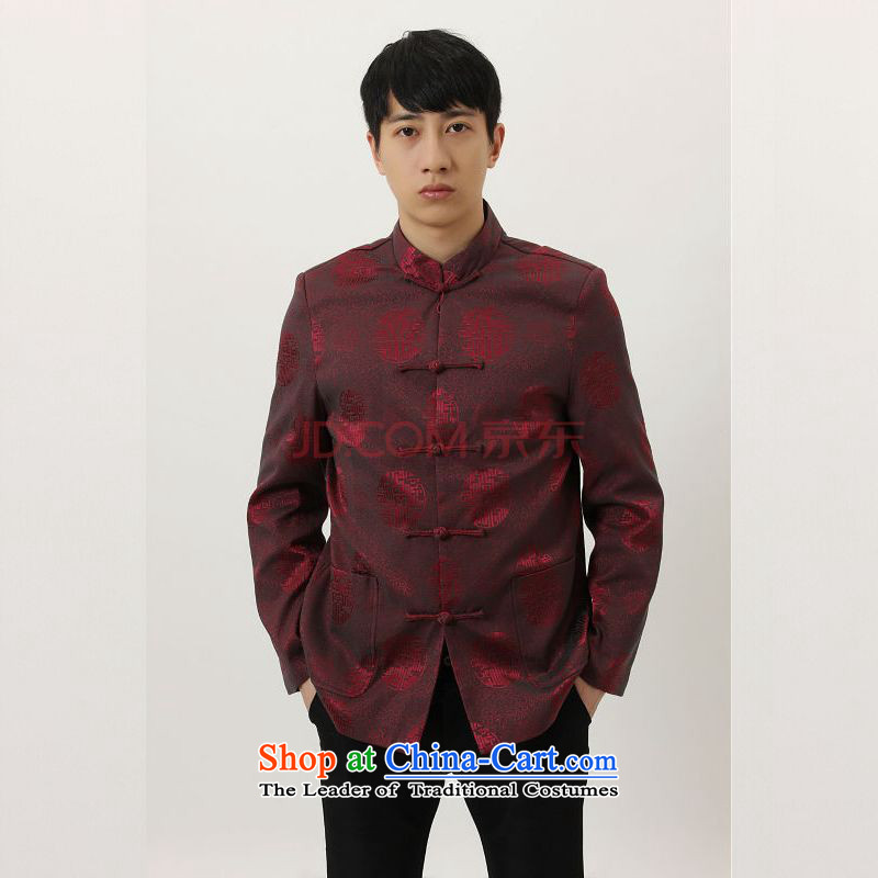 To Jing Ge older Tang dynasty China wind collar dress too Shou Yi wedding services will Chinese male Tang jacket燲XXL wine red