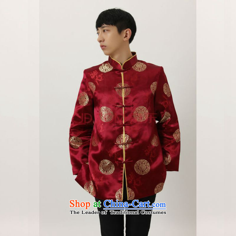 To Jing Ge older Tang dynasty China wind collar dress too Shou Yi wedding services will Chinese men and Tang dynasty聽M4004 wine red聽L