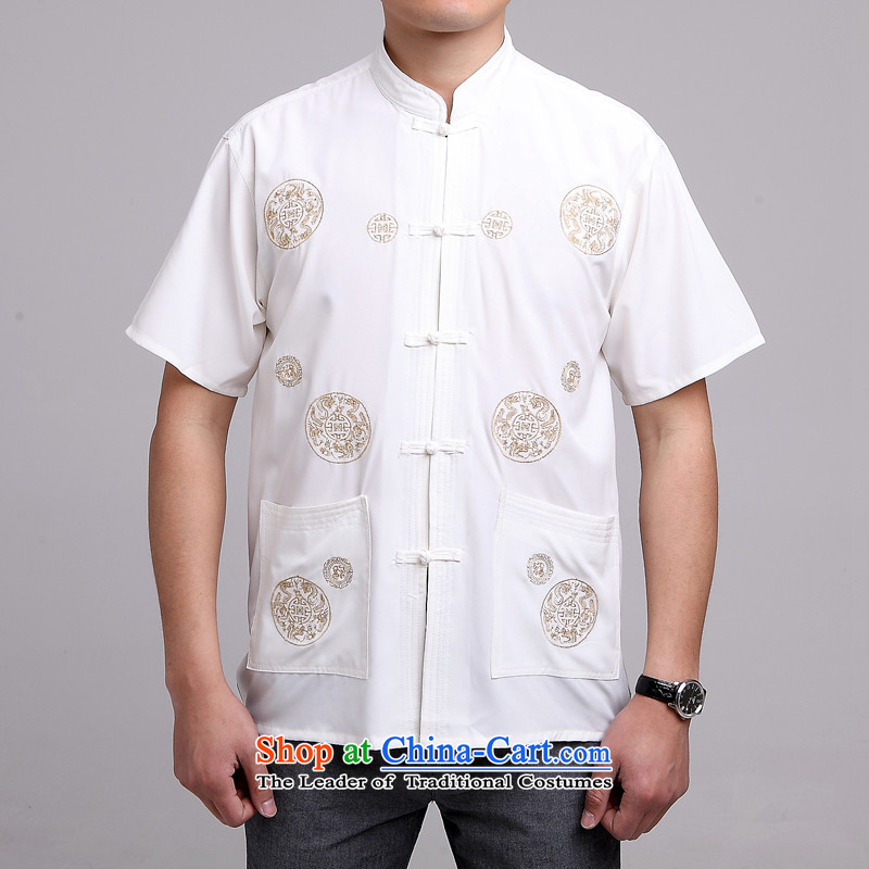 Yet the elderly in the floor of the building of Men's Mock-Neck summer cotton embroidery Tang dynasty China wind large short-sleeved white men?40