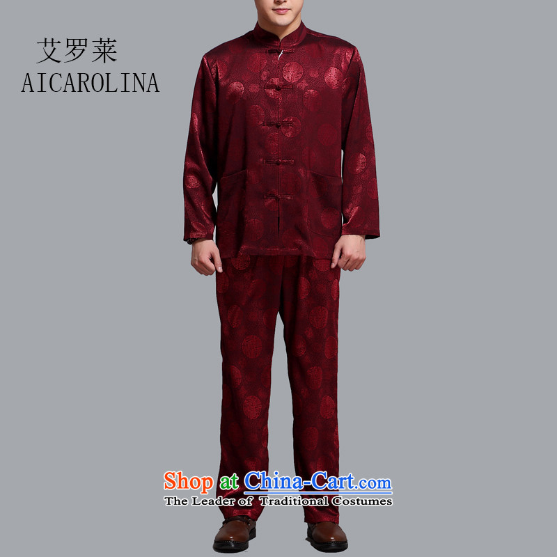 Hiv Rollet men Tang Dynasty Package in the summer of older men in spring and autumn Tang dynasty boxed long-sleeved shirt trouser press kit BOURDEAUX聽XL