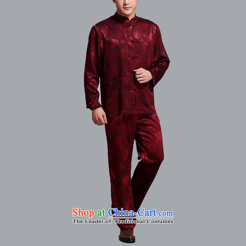 Hiv Rollet men Tang Dynasty Package in the summer of older men in spring and autumn Tang dynasty boxed long-sleeved shirt trouser press kit BOURDEAUX聽XL, HIV (AICAROLINA ROLLET) , , , shopping on the Internet