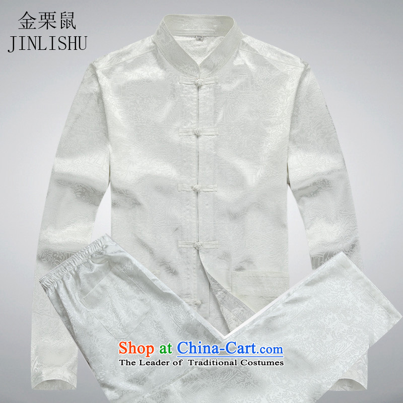 Kanaguri mouse in spring and summer new elderly men long-sleeved Tang Dynasty Package Install spring and summer load father men of ethnic Han-white kit M