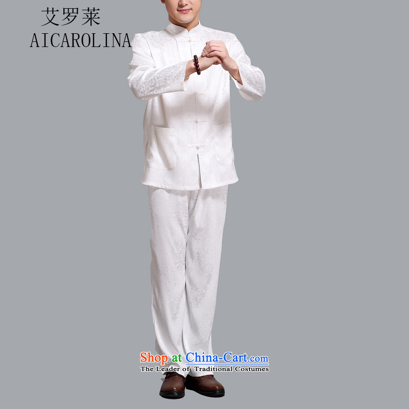 Hiv Rollet men Tang Dynasty Package in the summer of Tang Dynasty older men and the spring and summer of long-sleeved shirt with white XXL pants kit