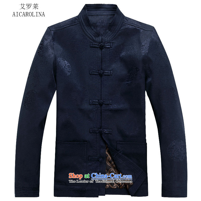 Hiv Rollet autumn and winter new Tang dynasty in Tang Dynasty Older long-sleeved jacket kit blue shirt?XL