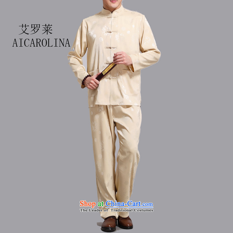 Hiv Rollet spring and summer new men in Tang Dynasty Older long-sleeved Kit China wind national costumes father replacing gold�XXL