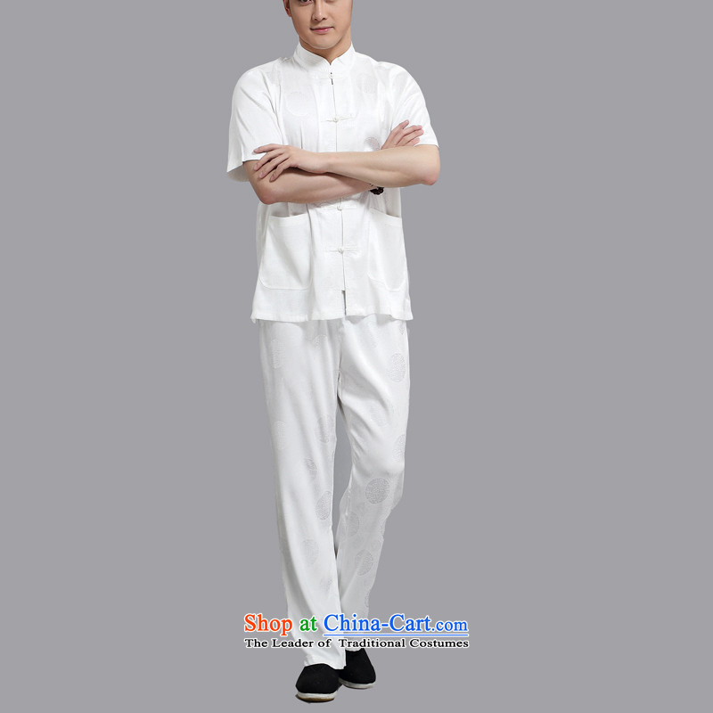 Hiv Rollet men Tang dynasty short-sleeved Han-xia men and boys Kit Tang Dynasty Chinese shirt loose white XL, HIV (AICAROLINA ROLLET) , , , shopping on the Internet