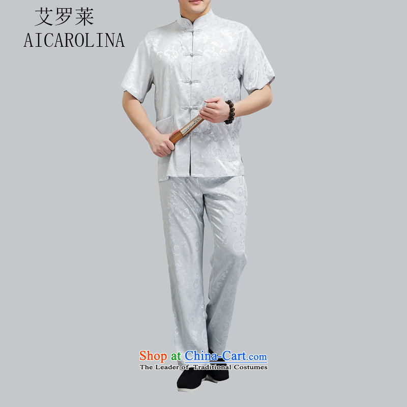 Hiv Rollet Summer of older persons in the Tang Dynasty Package short-sleeved men Han-ball-service national costume Chinese Light Gray XXXXL Collar