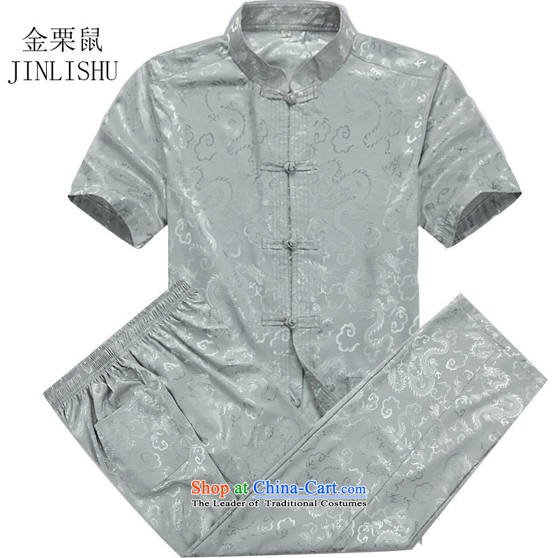 Kanaguri Mouse China wind summer older short-sleeved Tang in older men are large Tang Dynasty Package father men gray blue Kit聽L