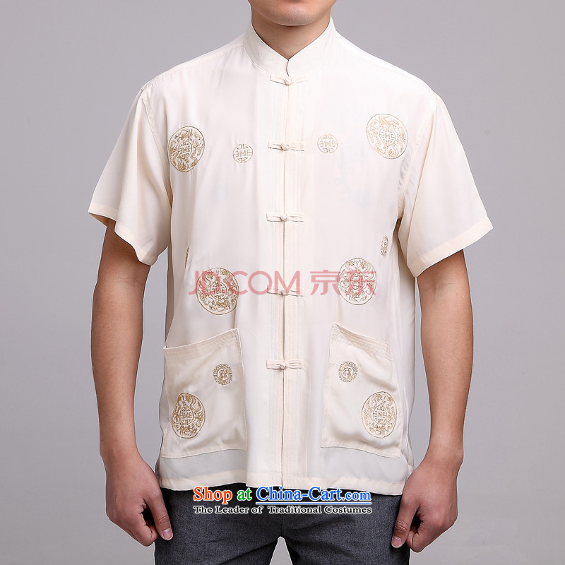 Secretary for the elderly in the upstairs Rui Men's Mock-Neck summer cotton embroidery Tang dynasty China wind short-sleeved larger men beige�40