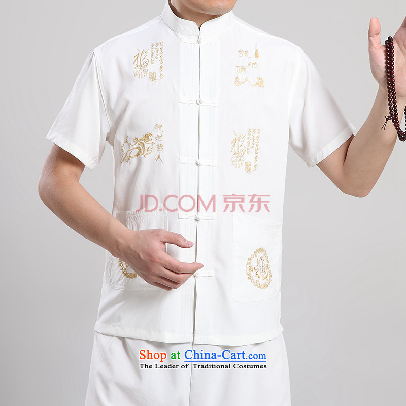 Secretary for the elderly in the upstairs Rui men Tang dynasty, short-sleeved T-shirt summer load father Mock-neck China wind short-sleeved T-shirt Kung Fu Tang dynasty white 42