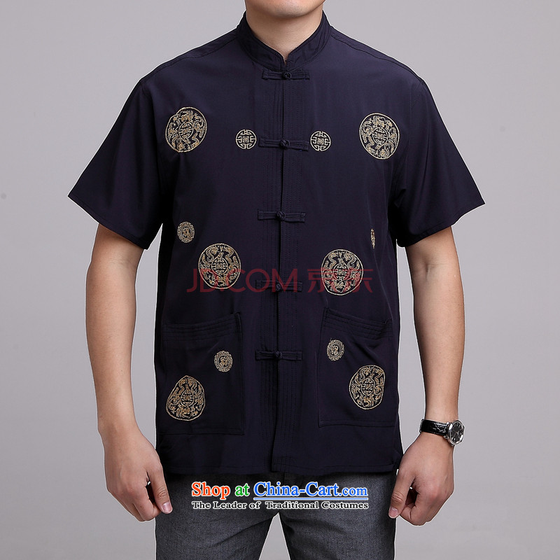 Nigeria in older Men's Mock-Neck summer cotton embroidery Tang dynasty China wind large short-sleeved blue men�40