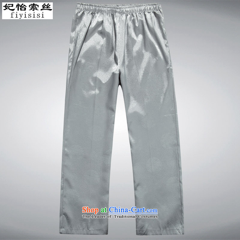 In?2015, Princess Selina Chow Summer New Tang Dynasty Package men short-sleeved T-shirt and older persons in the Han-China wind men's large short-sleeved gray pants Kit?L