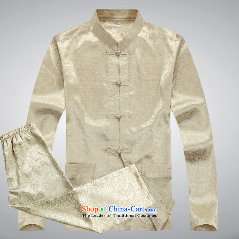The elderly in the thin, men's kung fu men long-sleeved shirt Tang Dynasty Package Homewear Taegeuk Service Men's Mock-Neck Tray Tie long-sleeved Tang Dynasty Package multi-colored beige燲XL_185 Optional