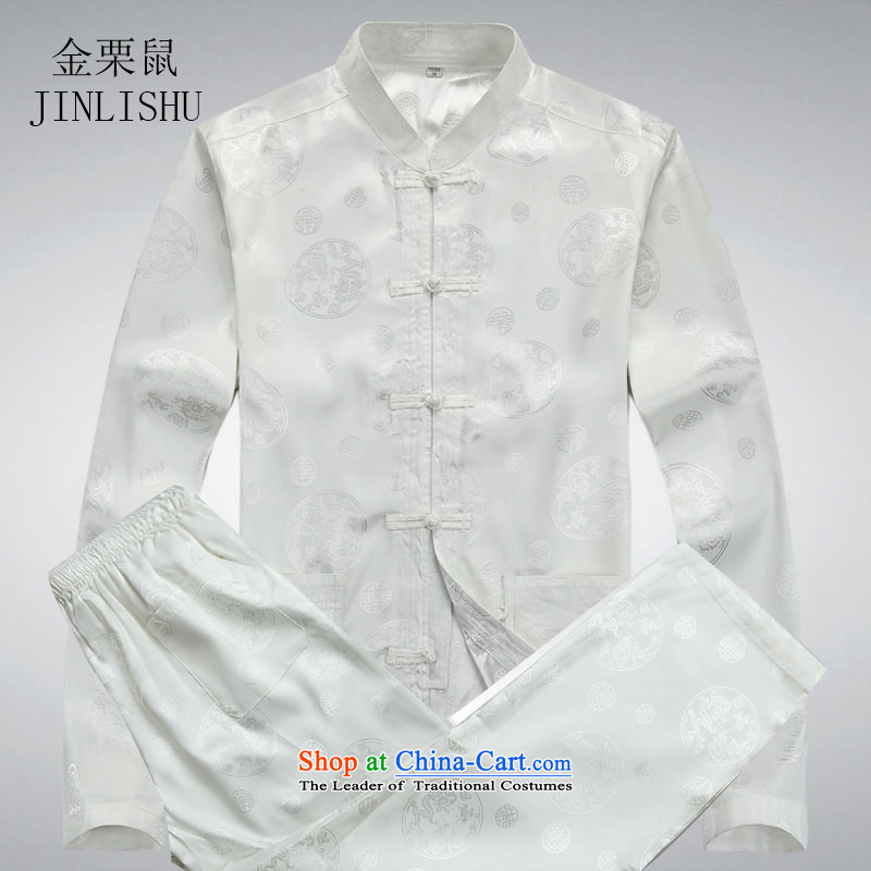 Kanaguri mouse in spring and summer men Tang Dynasty Package of older persons in long-sleeved China wind men's grandfather summer Chinese White聽XXL Kit