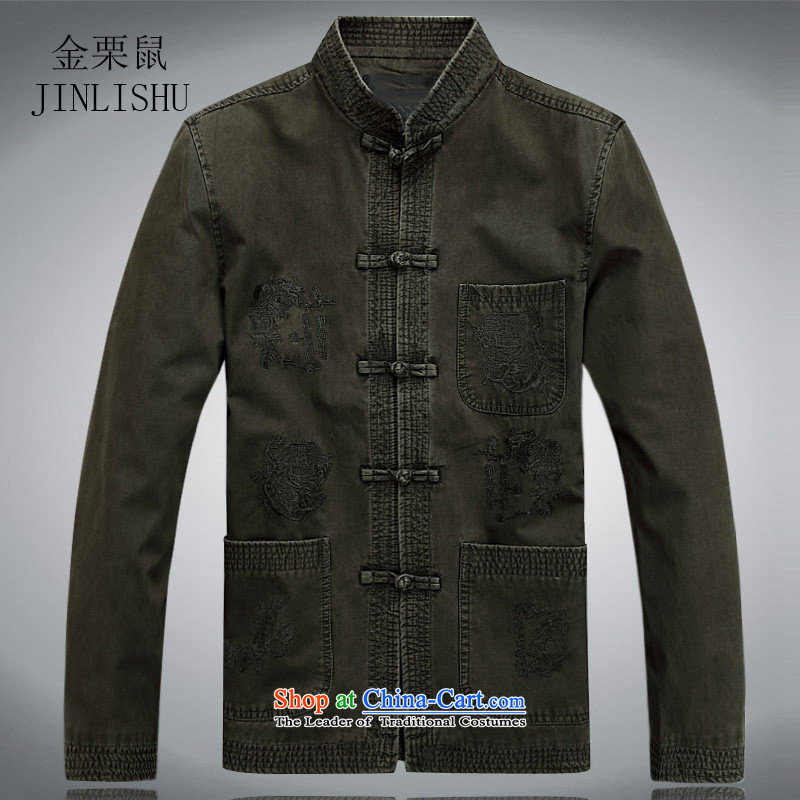 Kanaguri mouse spring and summer men in long-sleeved Tang Dynasty Tang dynasty older men and elderly long-sleeved jacket Tang men gray and green聽XL