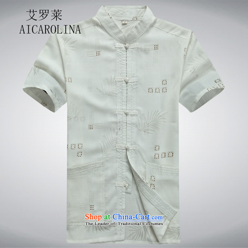 Rollet HIV Tang dynasty in the number of older men and short-sleeved shirt older older persons Summer Package Boxed men dad grandpa blouses聽XXXL White