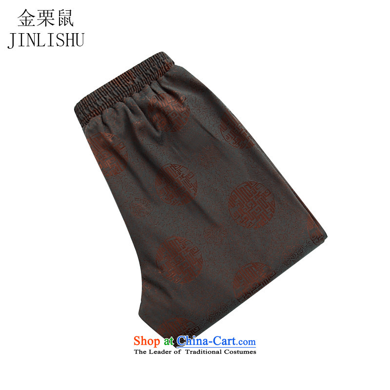 Kanaguri Mouse New China Wind Pants elastic waist Tang straight men casual pants and comfortable brown?XL