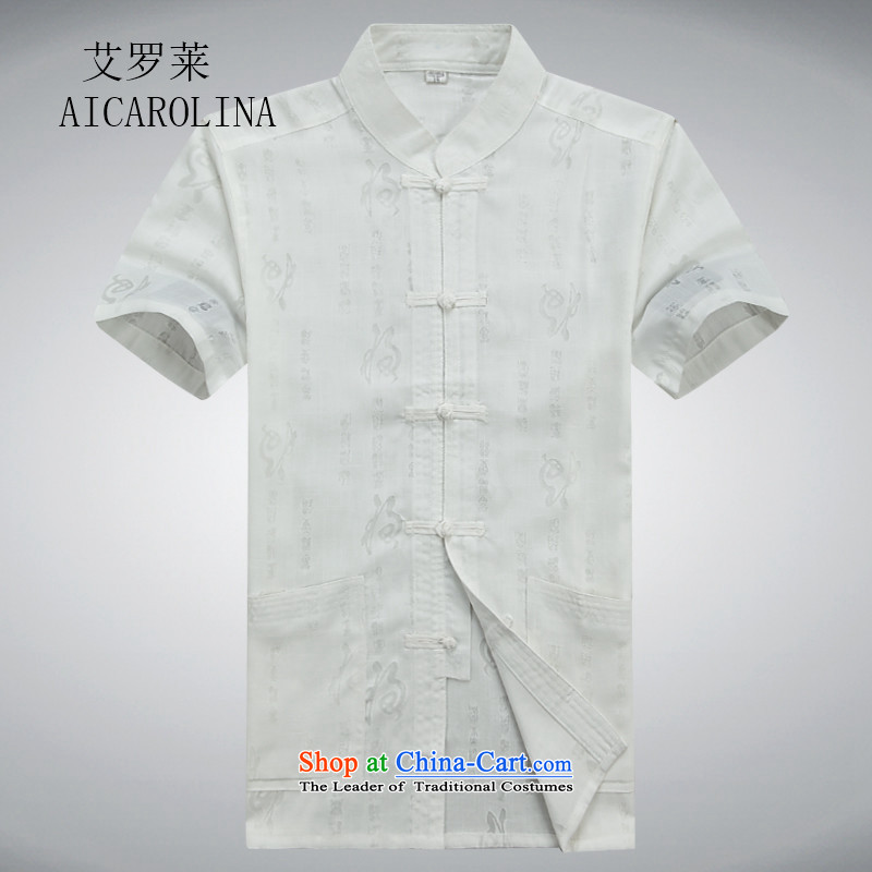 Rollet HIV from older men Tang dynasty summer short-sleeved T-shirt large retro-Tang dynasty men detained cotton linen short-sleeved white shirts kit聽XXL