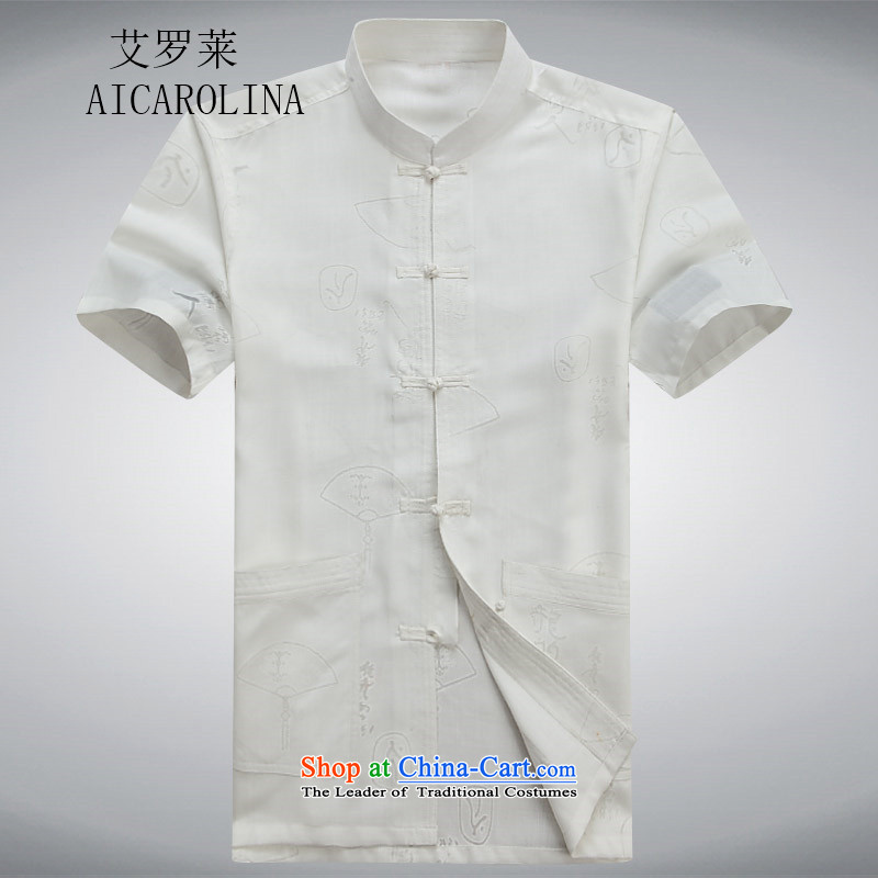 Airault letang replacing cotton linen short-sleeved elderly men's cotton linen Tang dynasty summer leisure shirt white?L