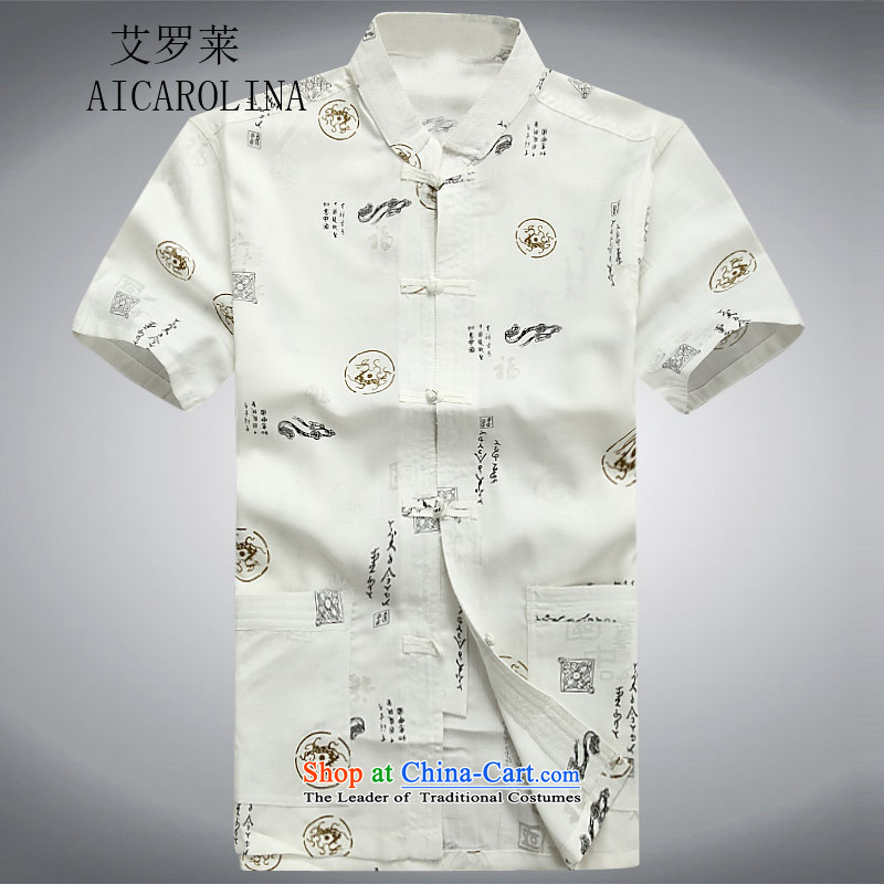 Rollet HIV Tang dynasty in the number of older men and short-sleeved summer Chinese cotton linen Tang blouses men linen Tang Dynasty Han-Menswear White�XXL