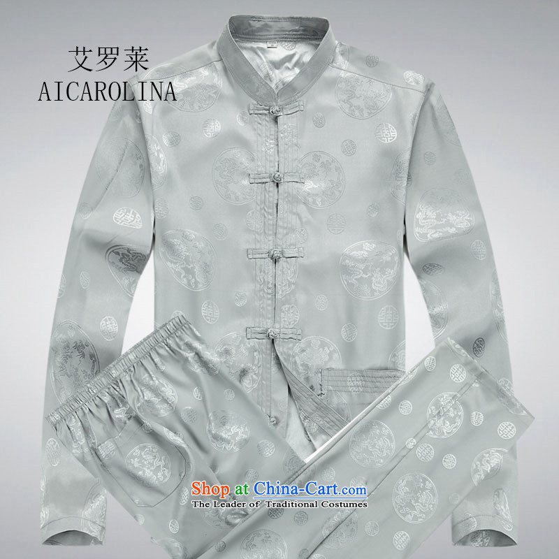Rollet HIV from older men Tang dynasty long-sleeved Kit Tang Dynasty Chinese shirt and gray suit?XL