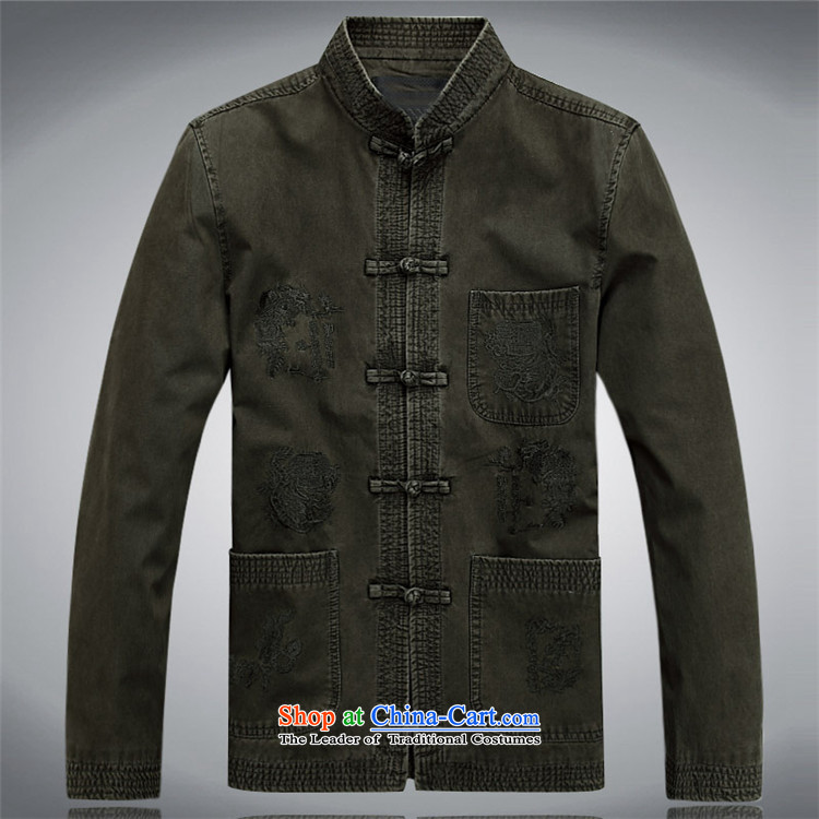 Hiv Rollet Cotton Men forming the Tang dynasty shirt China wind up long-sleeved shirt clip retro Chinese men's shirts green XXL picture, prices, brand platters! The elections are supplied in the national character of distribution, so action, buy now enjoy more preferential! As soon as possible.