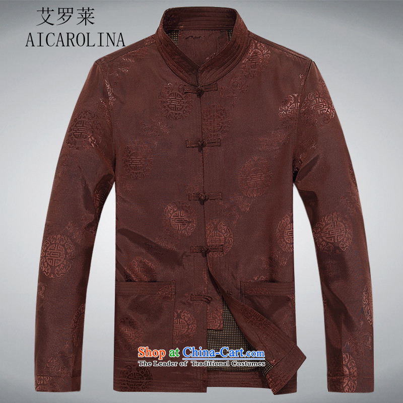 Hiv Rollet of older persons in the Tang dynasty and long-sleeved shirt men Chun men's jacket coat elderly Tang clothes and color聽XXL