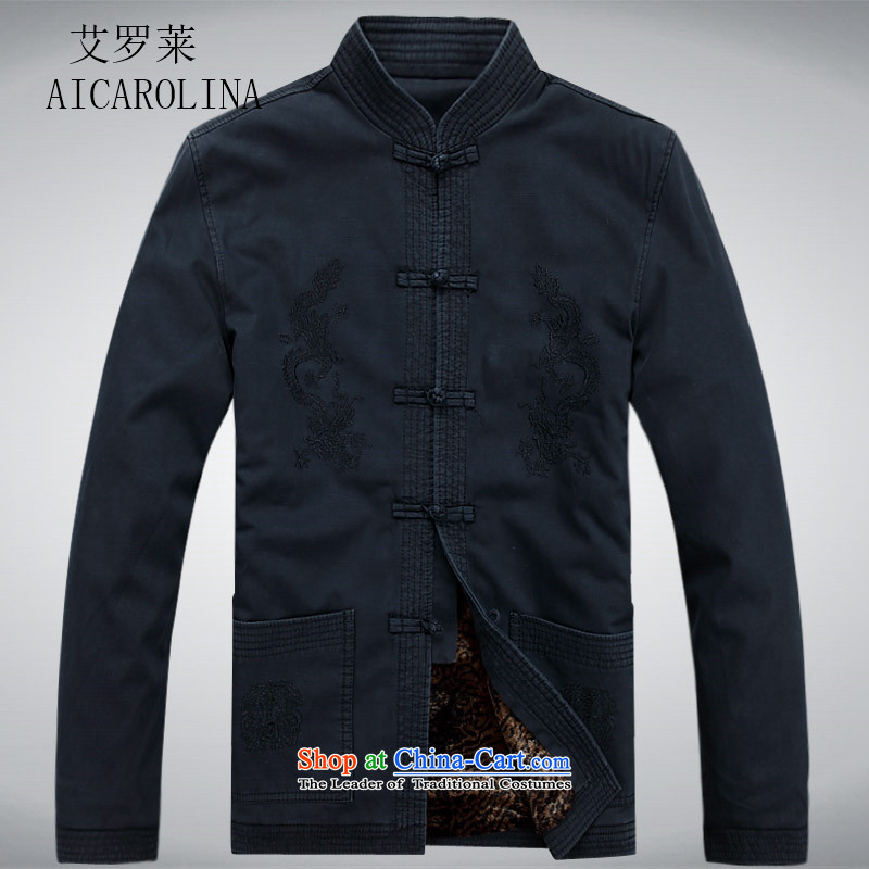 Hiv Rollet men Tang long-sleeved jacket of older persons in the Chinese men's spring outfits thick coat male Dark Blue?M