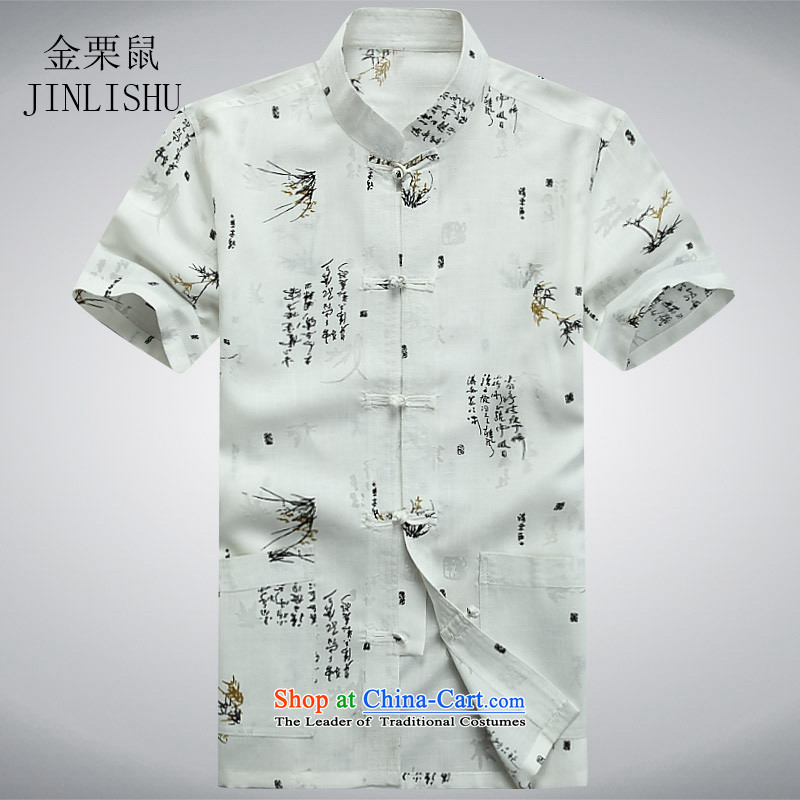 Kanaguri mouse in Tang Dynasty older men and short-sleeved shirt older older persons Summer Package Boxed men dad grandpa blouses white?L