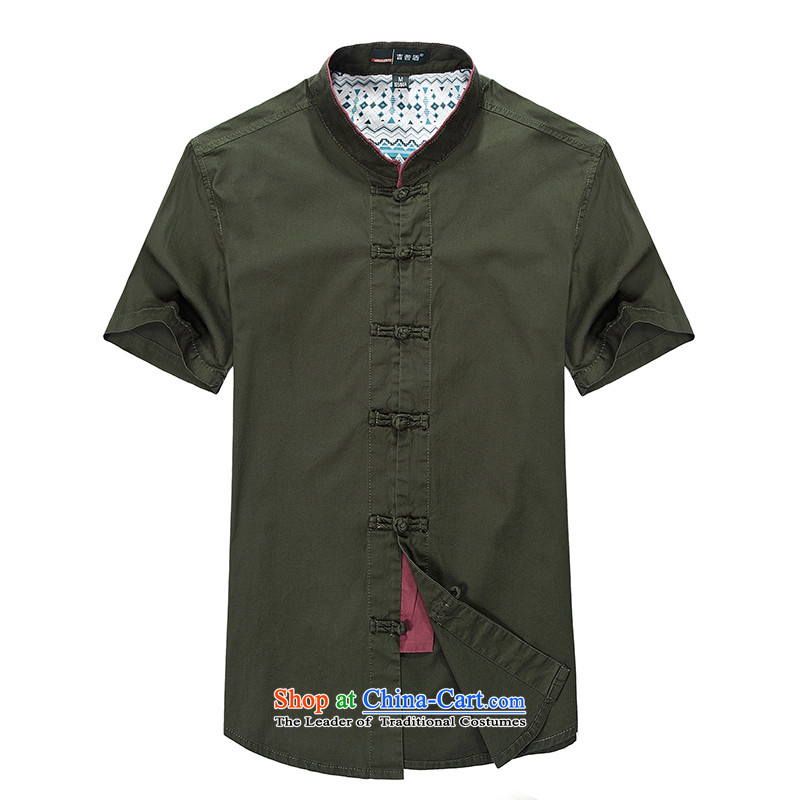 Install spring and summer JEEP2015 NIAN, short-sleeved shirt with new Pure Cotton Tang Dynasty Chinese ties to his breast-collar half-sleeved shirt male army green�L