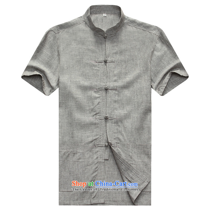 2015 Summer Chinese linen short-sleeved T-shirt and loose large round-neck collar tray clip cotton linen t-shirts. Older cotton linen t-shirt and gray?175