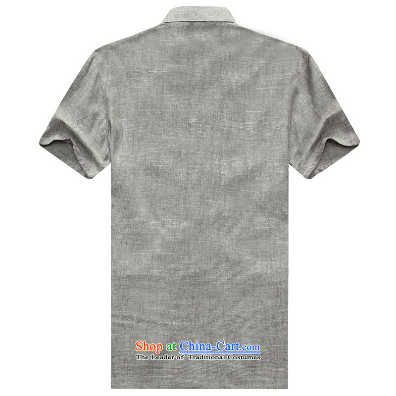 2015 Summer Chinese linen short-sleeved T-shirt and loose large round-neck collar tray clip cotton linen t-shirts. Older cotton linen t-shirt and gray聽175 Sato strong , , , shopping on the Internet