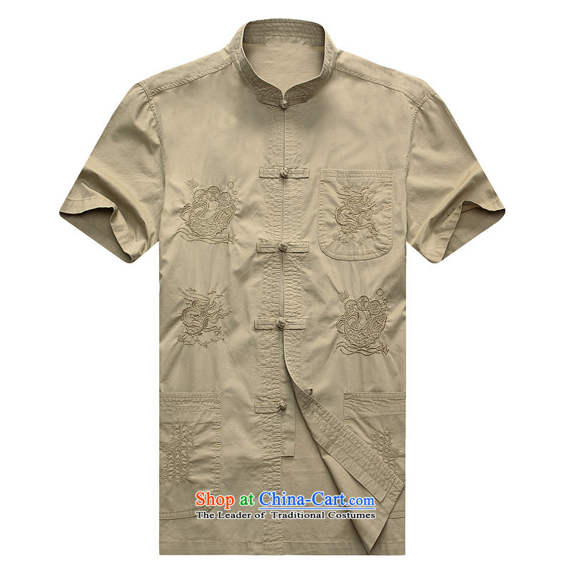 Summer 2015 new middle-aged men lapel large short-sleeved T-shirts Tang father replacing men and t-shirts from older men beige�170