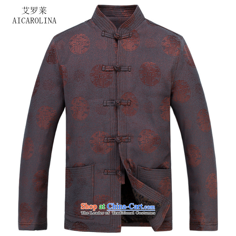 Hiv Rollet autumn and winter loose cotton men jacket in Tang Tang dynasty elderly men brown? XXL