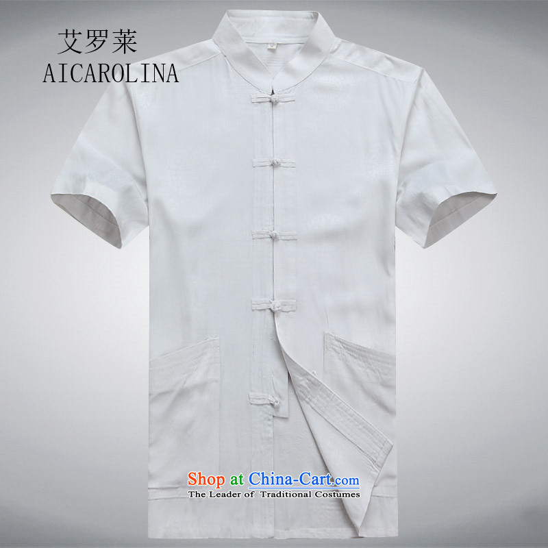Rollet HIV Tang dynasty in the number of older men and short-sleeved Summer Package Boxed men dad grandpa blouses white�L