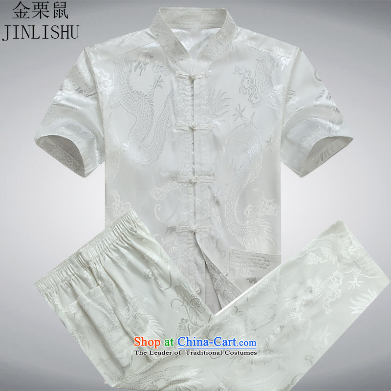 Kanaguri mouse new summer_, Tang Dynasty Chinese men older men short-sleeve kit for larger White聽XXL Kit