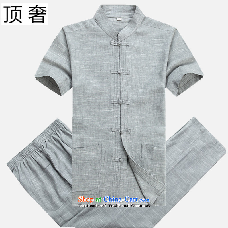 Top Luxury men short-sleeved Tang Dynasty Package , Summer collar cotton linen china wind-buttoned, large numbers of men in gray pants older Tang Dynasty Package hemp light gray short sleeve packaged 180/52