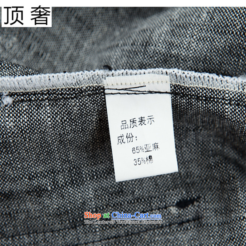 Top Luxury men short-sleeved Tang Dynasty Package , Summer collar cotton linen china wind-buttoned, large numbers of men in gray pants older Tang Dynasty Package hemp light gray short sleeve packaged180/52, top luxury shopping on the Internet has been pr