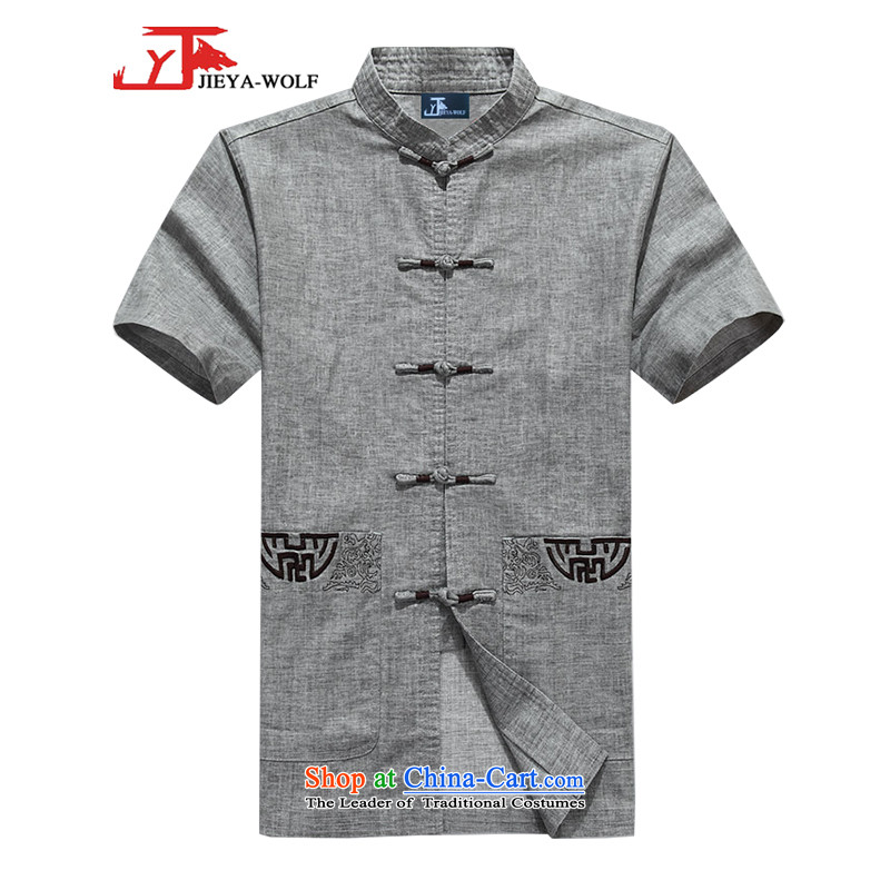 - Wolf JIEYA-WOLF, New Tang Dynasty Short-Sleeve Men's summer advanced cotton linen Solid Color Plane Collision color manually detained men of gray 170/M Stars