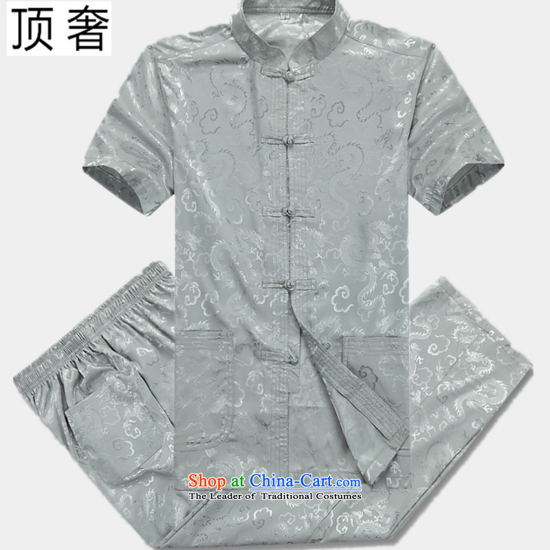 Top Luxury Tang dynasty male new short-sleeved Tang Dynasty Package in older men casual summer Chinese clothing elderly ethnic Chinese tunic thin, hands-free hot half sleeve 07_ Silver Dragon Kit 180